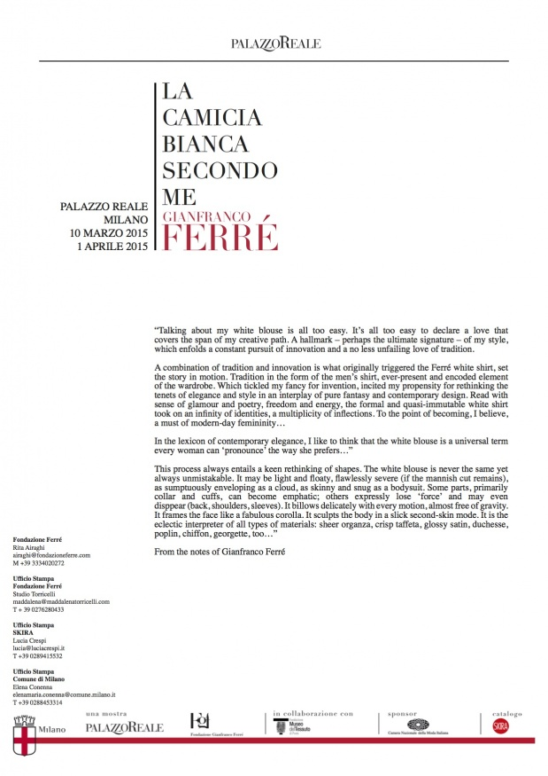 From the notes of Gianfranco Ferré